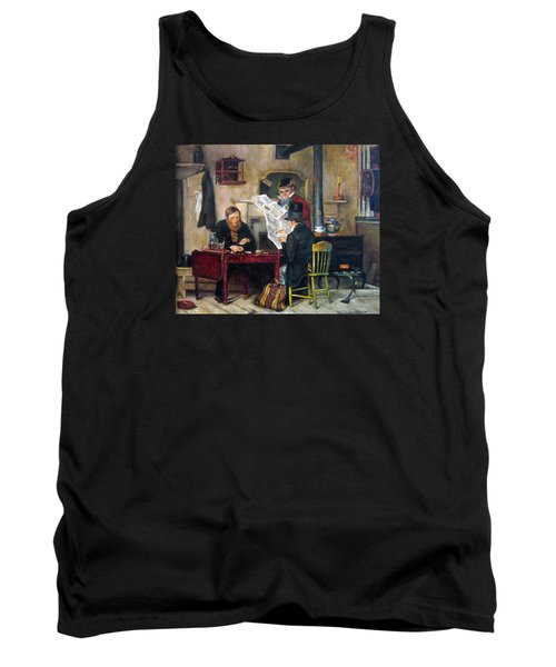Tank Top featuring the painting A Study Of Waiting For The Stage by Donna Tucker