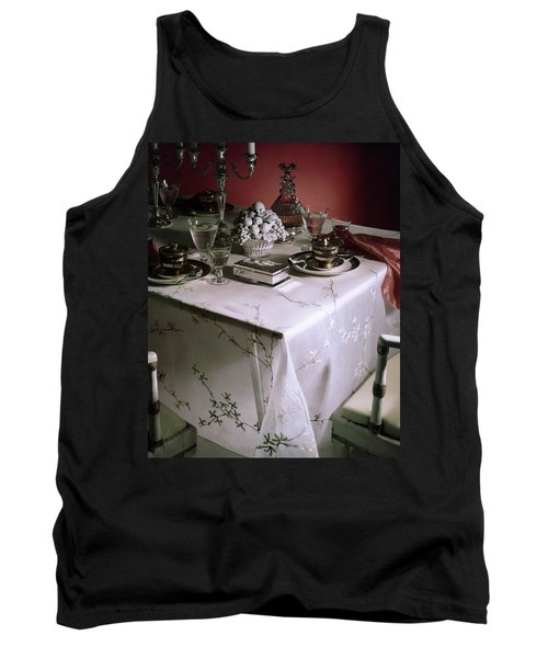 A Table Set With Delicate Tableware Tank Top