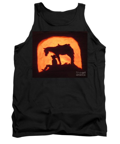 Country Style Halloween Pumpkin Carving Tank Top
