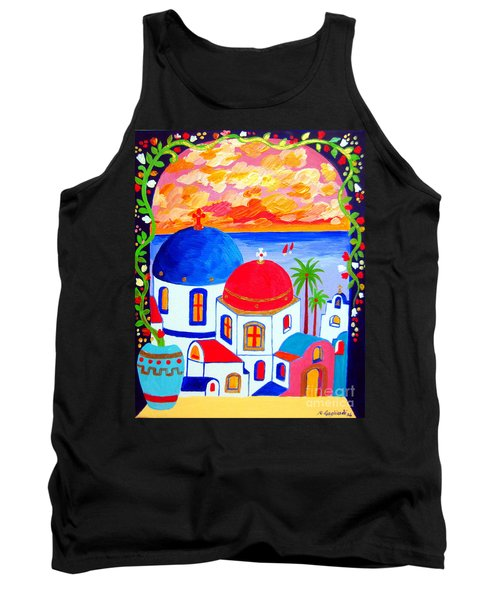 Tank Top featuring the painting A Window Over Santorini by Roberto Gagliardi