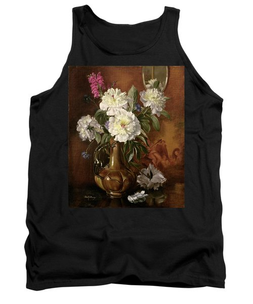 White Peonies In A Glazed Victorian Vase Tank Top