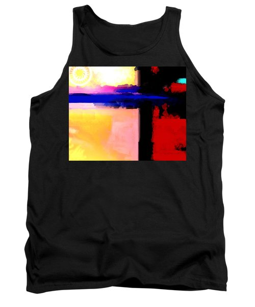 Tank Top featuring the painting Abstract Impressions Of A Blue Horizon by Karon Melillo DeVega