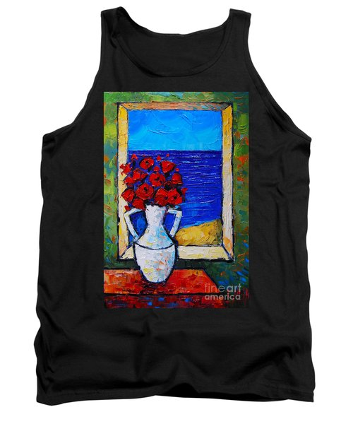 Abstract Poppies By The Sea Tank Top