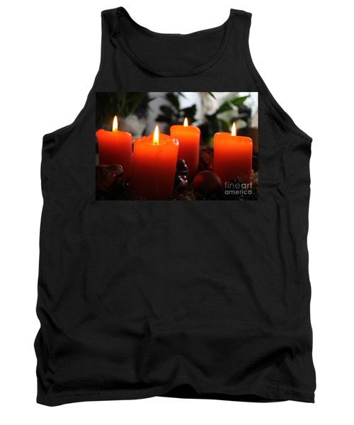 Tank Top featuring the photograph Advent Candles Christmas Candle Light by Paul Fearn