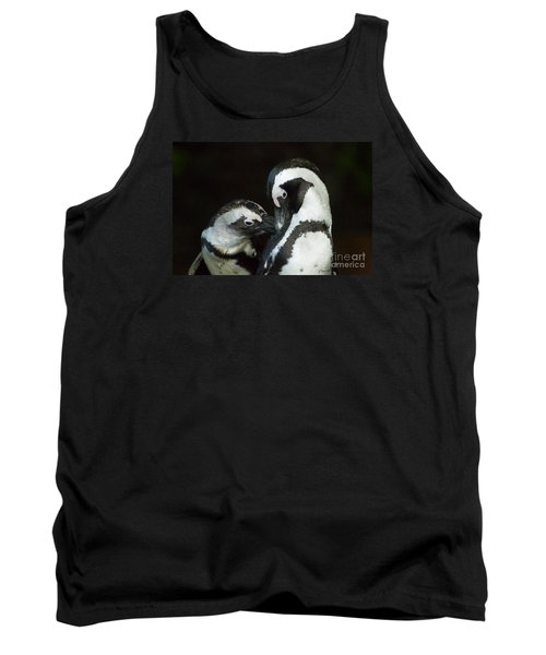 African Black-footed Penquin-signed-#8081 Tank Top by J L Woody Wooden