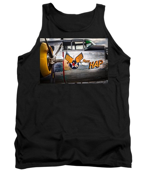 Tank Top featuring the photograph Aircraft Nose Art - Pinup Girl - Miss Hap by Gary Heller