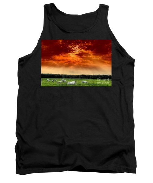 Tank Top featuring the photograph Alberta Canada Cattle Herd Hdr Sky Clouds Forest by Paul Fearn