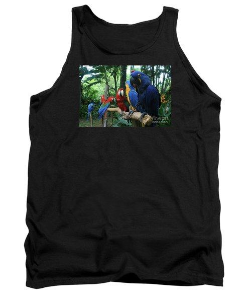 Aloha Kaua Aloha Mai No Aloha Aku Beautiful Macaw Tank Top by Sharon Mau