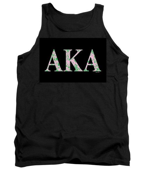 Tank Top featuring the digital art Alpha Kappa Alpha - Black by Stephen Younts