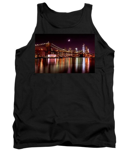 Tank Top featuring the photograph Amazing New York Skyline And Brooklyn Bridge With Moon Rising by Mitchell R Grosky