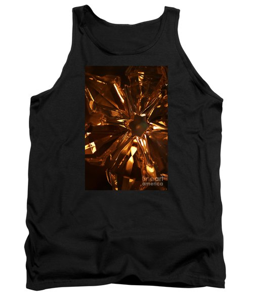 Tank Top featuring the photograph Amber Crystal Snowflake by Linda Shafer