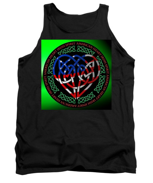 Tank Top featuring the digital art American Celtic Heart by Ireland Calling