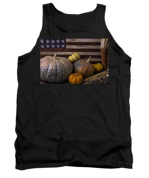 American Flag Autumn Still Life Tank Top