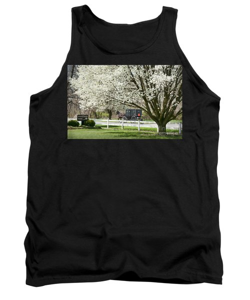 Amish Buggy Fowering Tree Tank Top