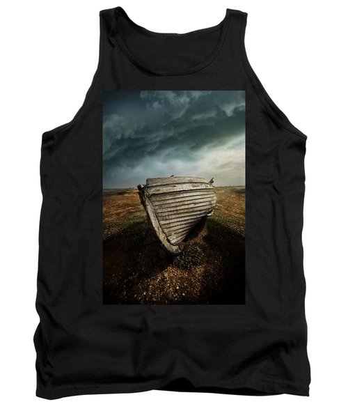 An Old Wreck On The Field. Dramatic Sky In The Background Tank Top