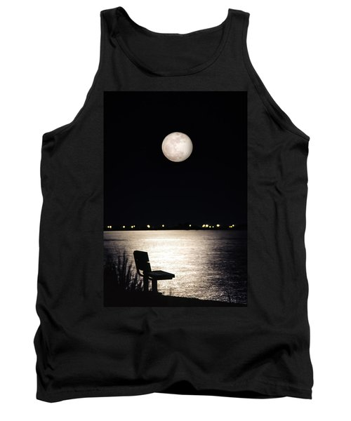 Tank Top featuring the photograph And No One Was There - To See The Full Moon Over The Bay by Gary Heller