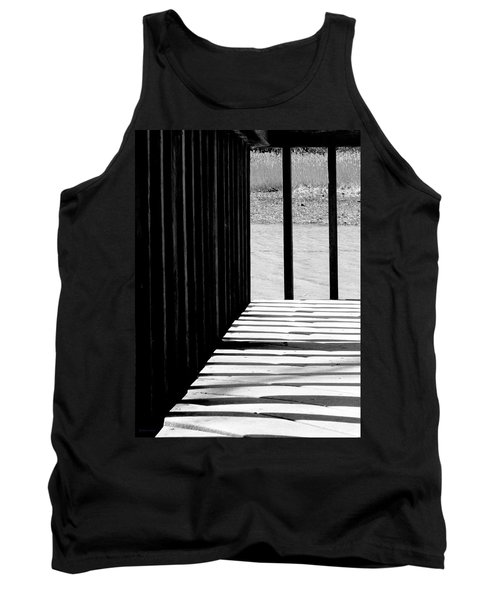 Tank Top featuring the photograph Angles And Shadows - Black And White by Shawna Rowe