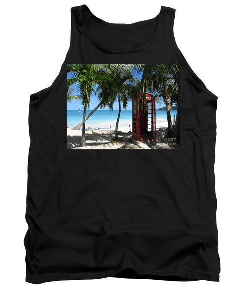 Tank Top featuring the photograph Antigua - Phone Booth by HEVi FineArt