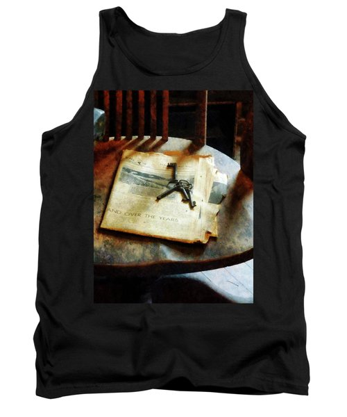 Tank Top featuring the photograph Antique Keys On Newspaper by Susan Savad