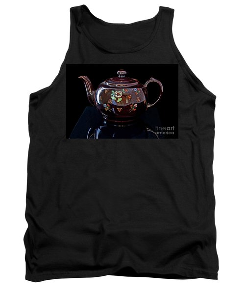 Antique Native American Teapot On Black Art Prints Tank Top