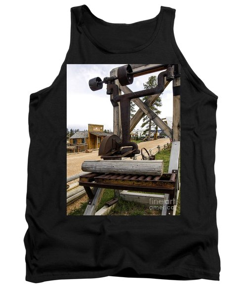 Tank Top featuring the photograph Antique Table Saw Tool Wood Cutting Machine by Paul Fearn