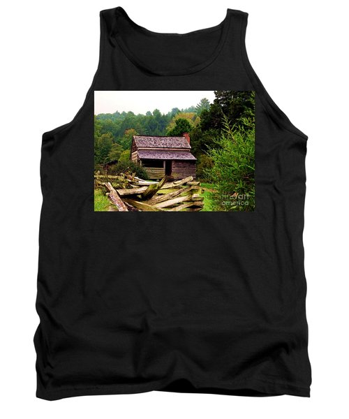 Appalachian Cabin With Fence Tank Top by Desiree Paquette