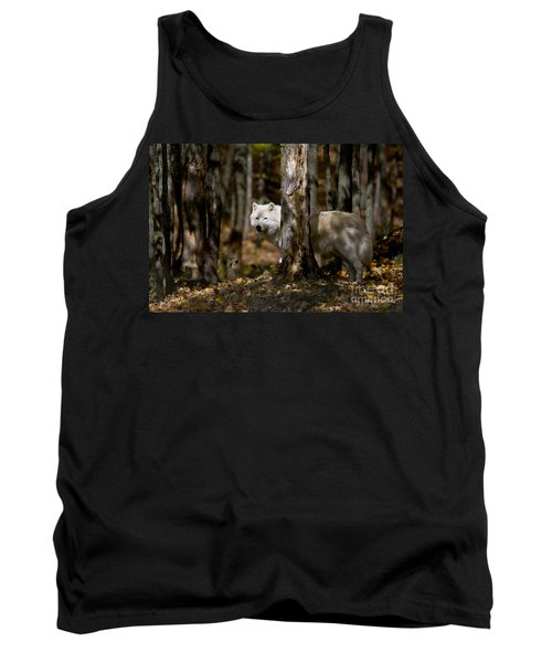 Tank Top featuring the photograph Arctic Wolf In Forest by Wolves Only