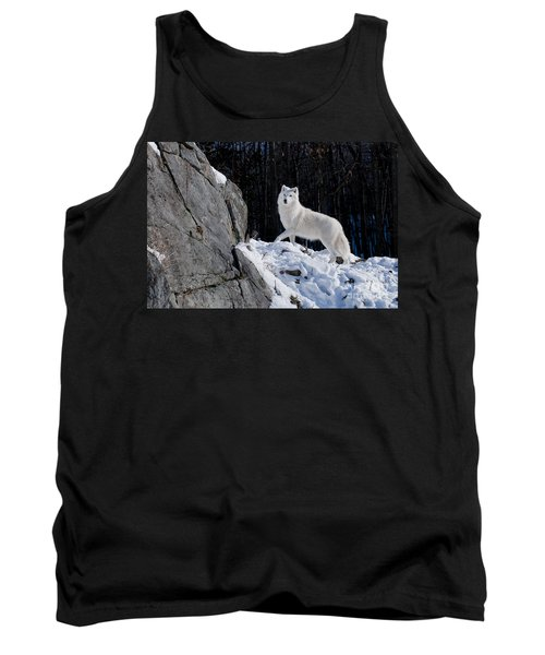 Tank Top featuring the photograph Arctic Wolf On Rock Cliff by Wolves Only