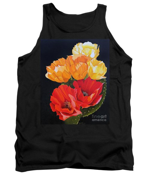 Tank Top featuring the painting Arizona Blossoms - Prickly Pear by Debbie Hart