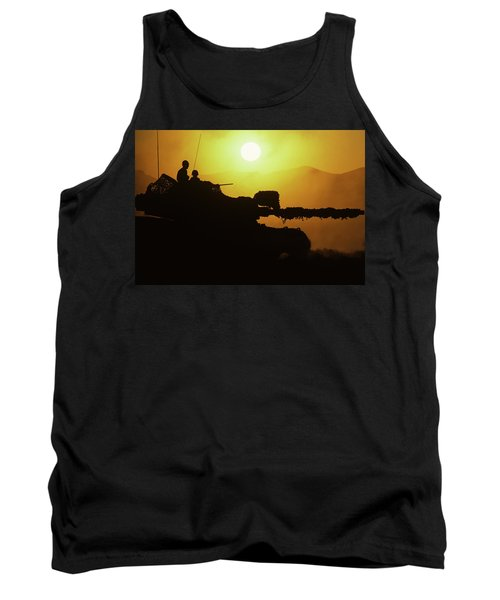 Army Tank With Camouflage In Training Tank Top