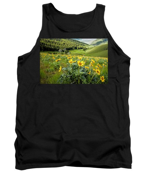 Tank Top featuring the photograph Arrow Leaf Balsam Root by Jack Bell