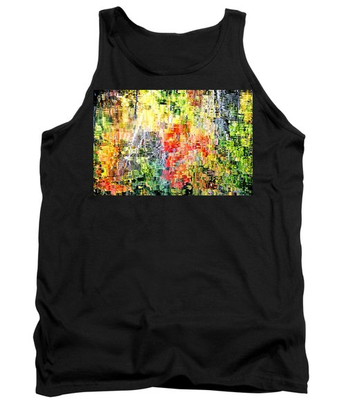 Autumn Leaves Reflected In Pond Surface Tank Top
