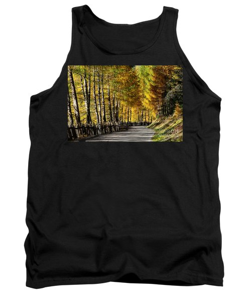 Winding Road Through The Autumn Trees Tank Top