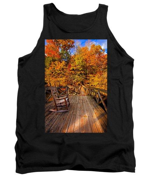 Autumn Rocking On Wooden Bridge Landscape Print Tank Top
