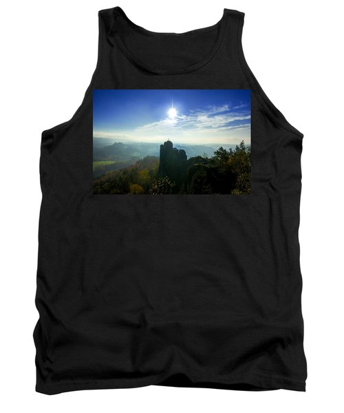 Autumn Sunrise In The Elbe Sandstone Mountains Tank Top