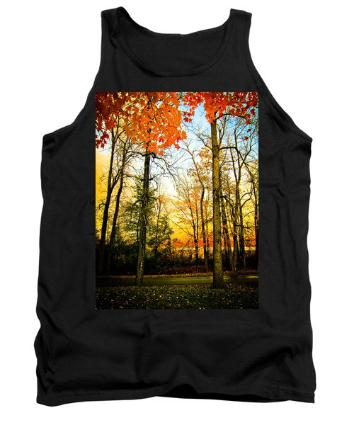 Tank Top featuring the photograph Autumn Sunset  by Sara Frank