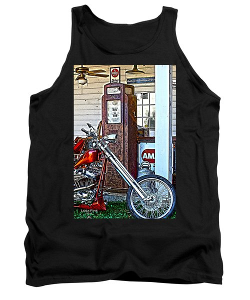 Tank Top featuring the photograph Aztec And The Gas Pump by Lesa Fine