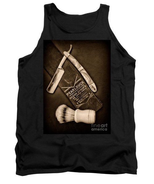 Barber - Tools For A Close Shave - Black And White Tank Top by Paul Ward