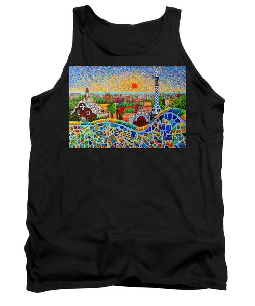 Barcelona View At Sunrise - Park Guell  Of Gaudi Tank Top by Ana Maria Edulescu