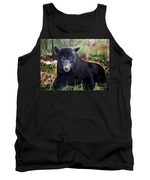Tank Top featuring the painting Bear Painting - Blackberry Patch - Wildlife by Jan Dappen