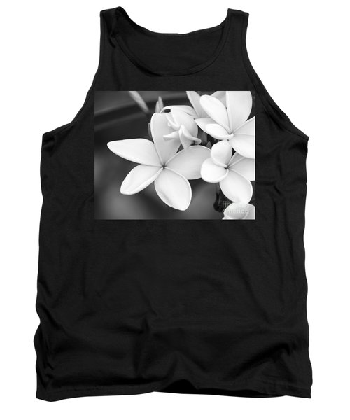Beautiful Plumeria In Black And White Tank Top