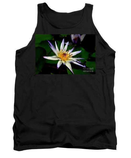 Beautiful Violet White And Yellow Water Lily Flower Tank Top
