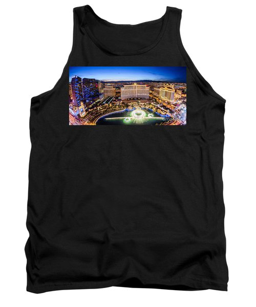 Tank Top featuring the photograph Bellagio Rountains From Eiffel Tower At Dusk by Aloha Art