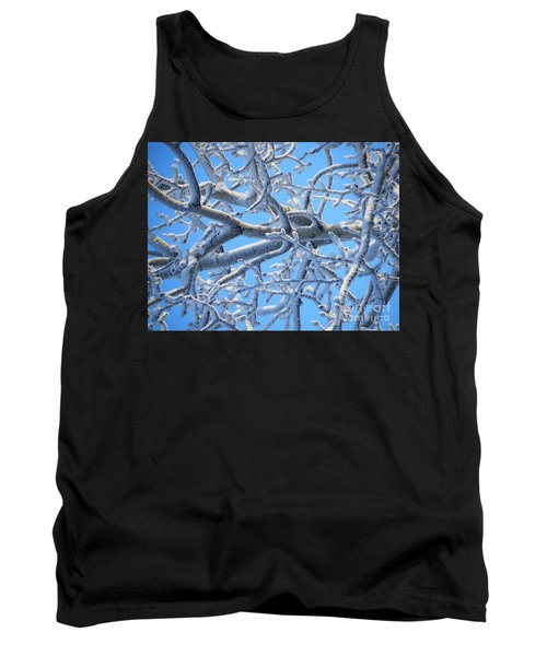 Bifurcations In White And Blue Tank Top by Brian Boyle
