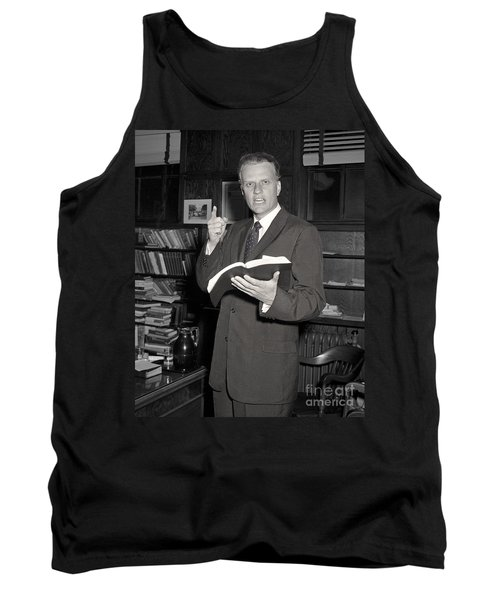 Tank Top featuring the photograph Billy Graham 1956 by Martin Konopacki Restoration