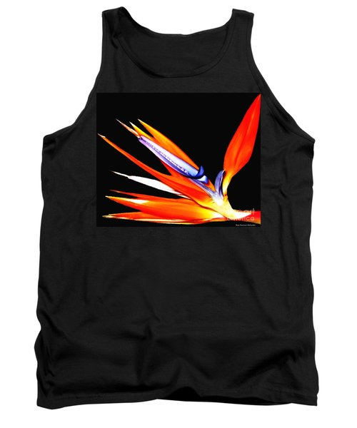 Bird Of Paradise Flower With Oil Painting Effect Tank Top by Rose Santuci-Sofranko