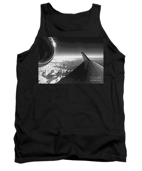 Tank Top featuring the photograph Jet Pop Art Plane Black And White  by R Muirhead Art