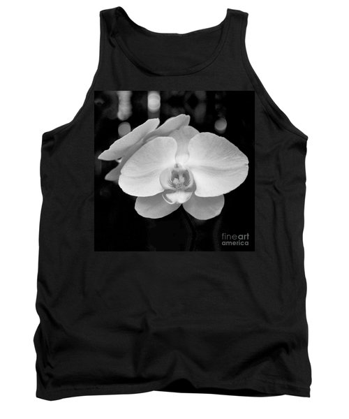 Black And White Orchid With Lights - Square Tank Top by Heather Kirk