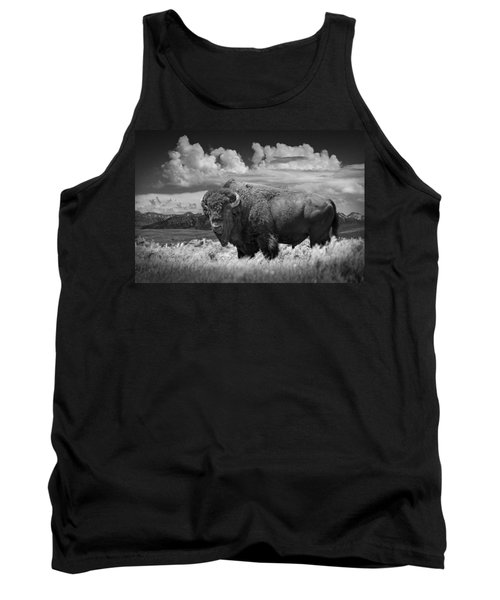 Black And White Photograph Of An American Buffalo Tank Top by Randall Nyhof