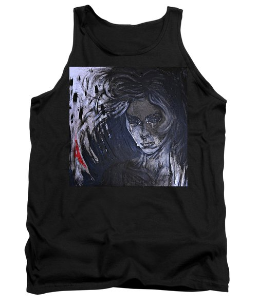 Tank Top featuring the painting black portrait 16 Juliette by Sandro Ramani
